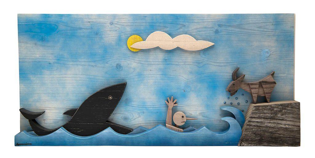 Scultura Guasina in legno - Soggetto Pinocchio e Balena - dimensioni cm. 70 x 6 x 40