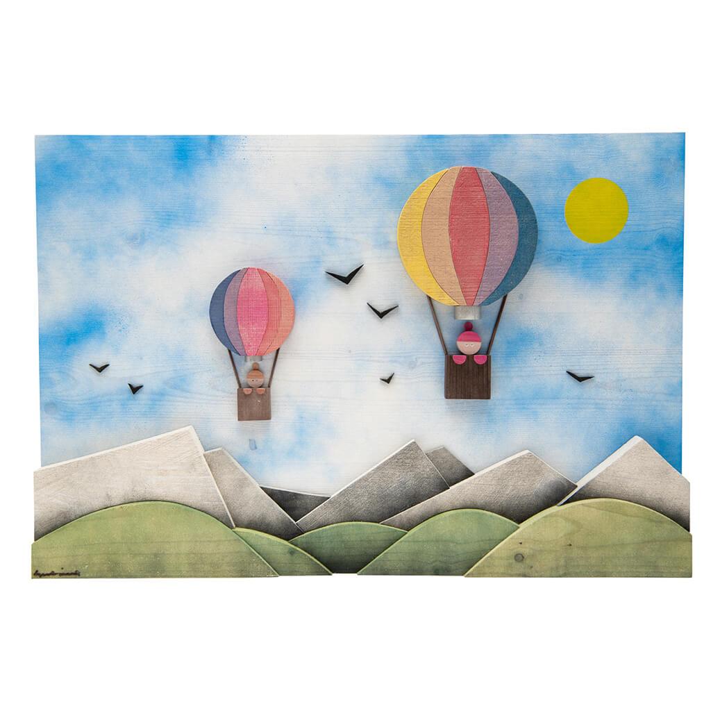 Scultura Guasina in legno - Pannello soggetto Mongolfiere nel cielo  - dimensioni cm. 60 x 5 x 40