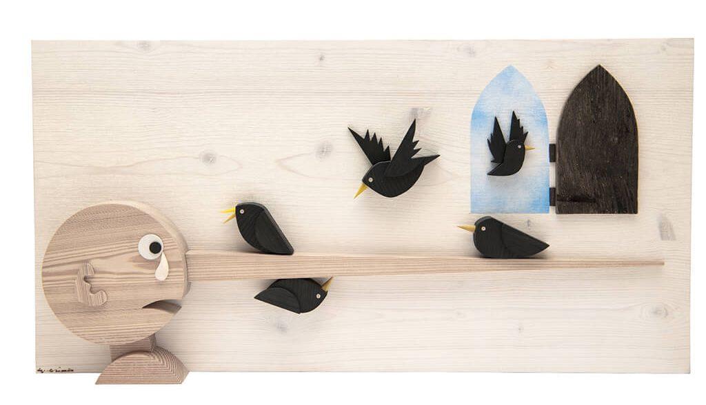 Scultura Guasina in legno - Soggetto Pinocchio e uccelli - dimensioni cm. 70 x 6 x 40