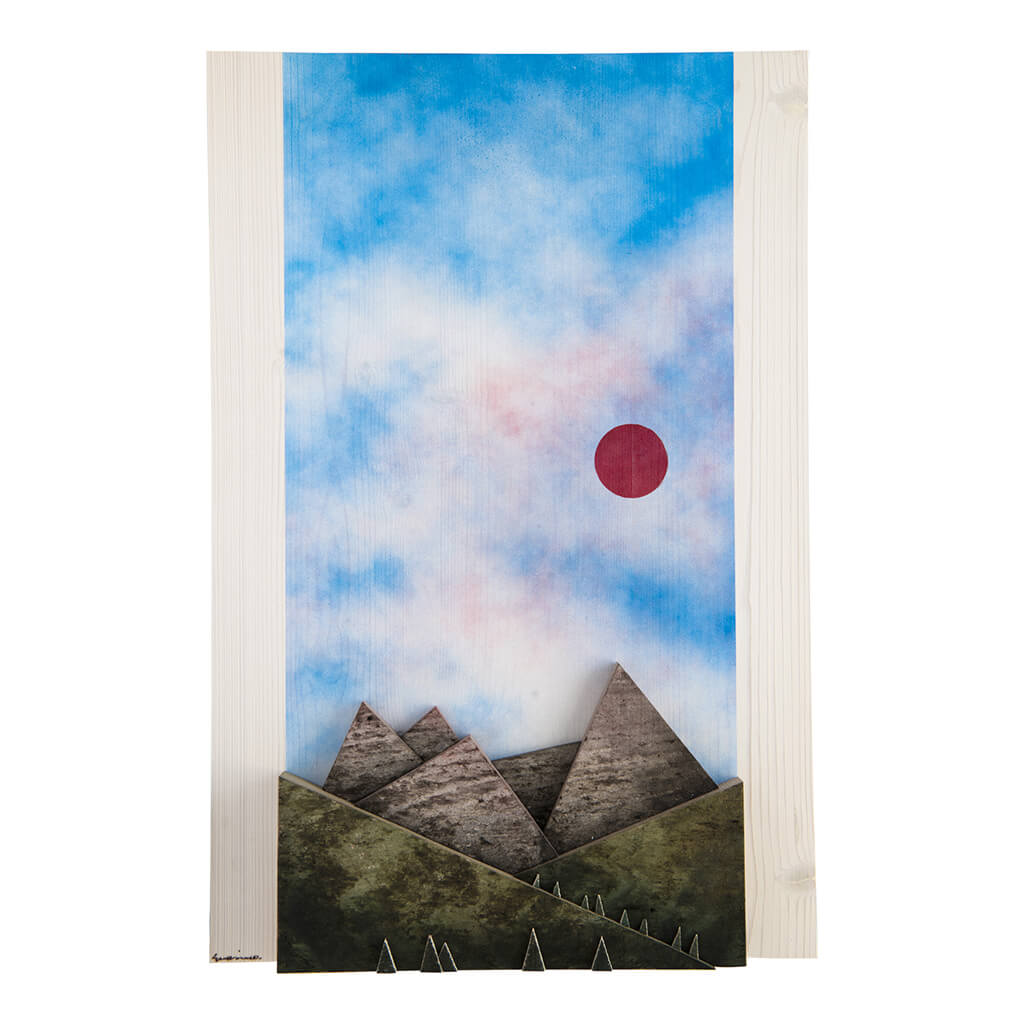 Scultura Guasina in legno - Pannello Montagne giorno- dimensioni cm. 40 x 5 x 60