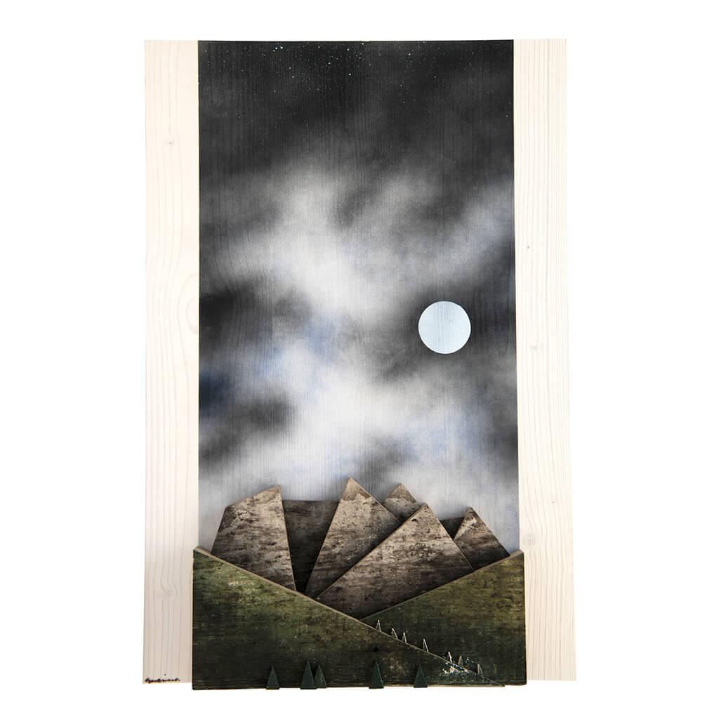 Scultura Guasina in legno - Pannello Montagne notte - dimensioni cm. 40 x 5 x 60