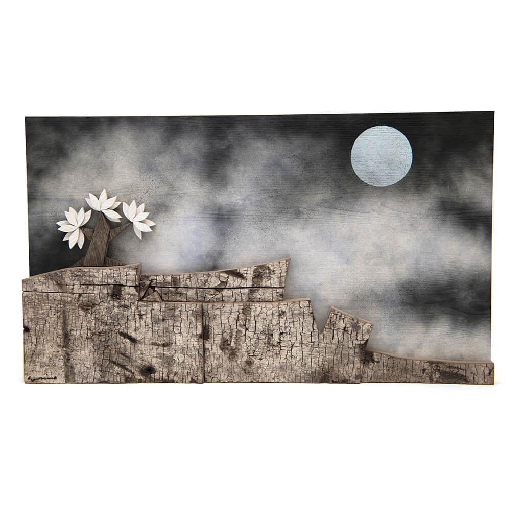 Scultura Guasina in legno - Pannello Meditazione notturna- dimensioni cm. 60 x 5 x 35