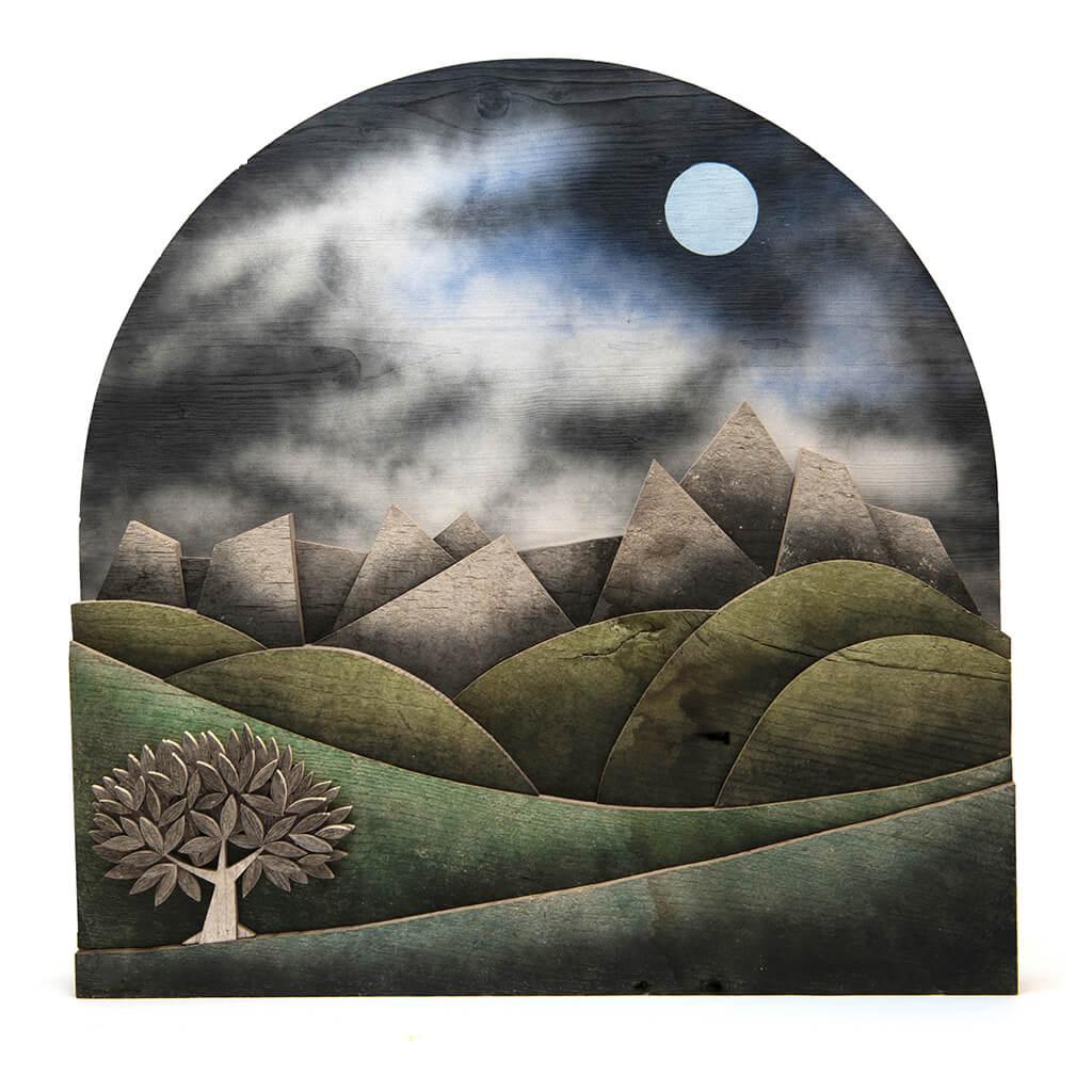 Scultura Guasina in legno - Pannello Recoaro - dimensioni cm. 60 x 7 x 60