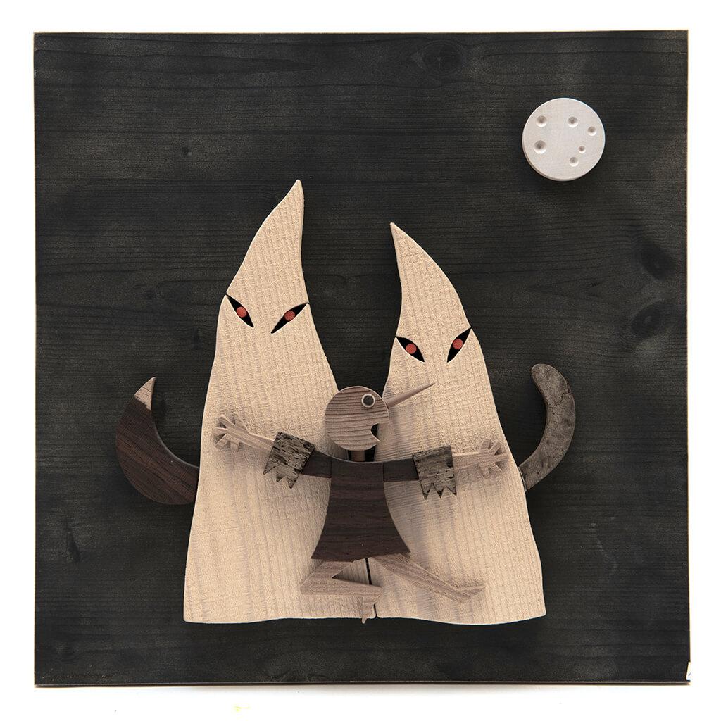 Scultura in legno - Pannello Pinocchio e fantasmi - dimensioni cm. 40 x 6 x 40