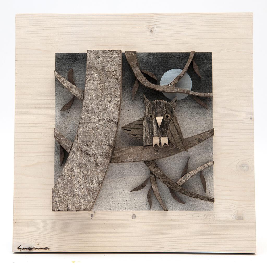 Scultura Guasina in legno - Pannello stagioni Inverno - dimensioni cm. 30 x 4,5 x 30