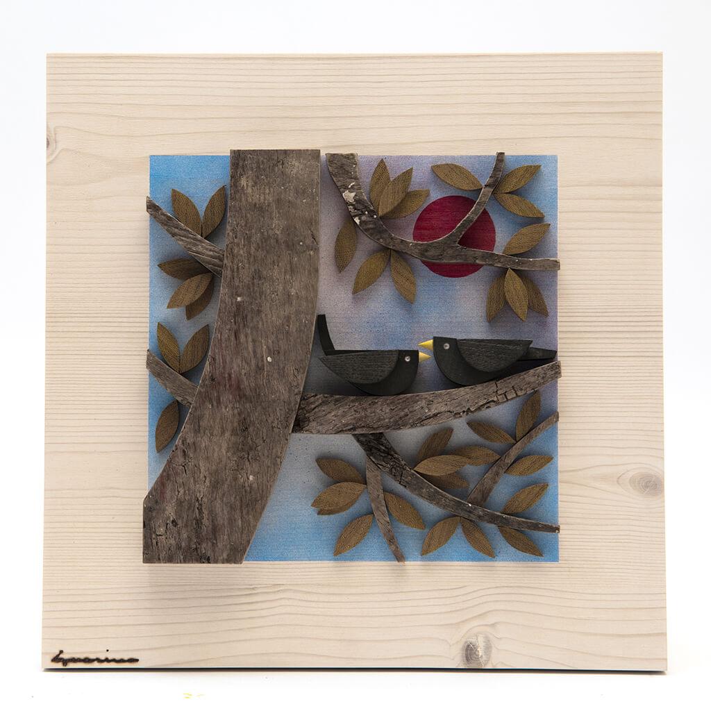 Scultura Guasina in legno - Pannello stagioni Autunno- dimensioni cm. 30 x 4,5 x 30