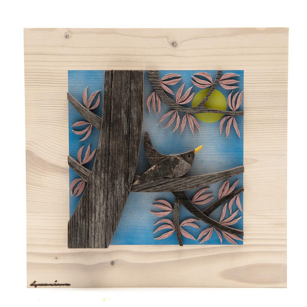 Scultura Guasina in legno - Pannello stagioni Primavera - dimensioni cm. 30 x 4,5 x 30