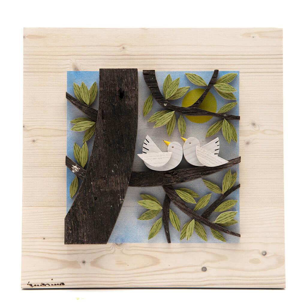 Scultura Guasina in legno - Pannello stagioni Estate - dimensioni cm. 30 x 4,5 x 30
