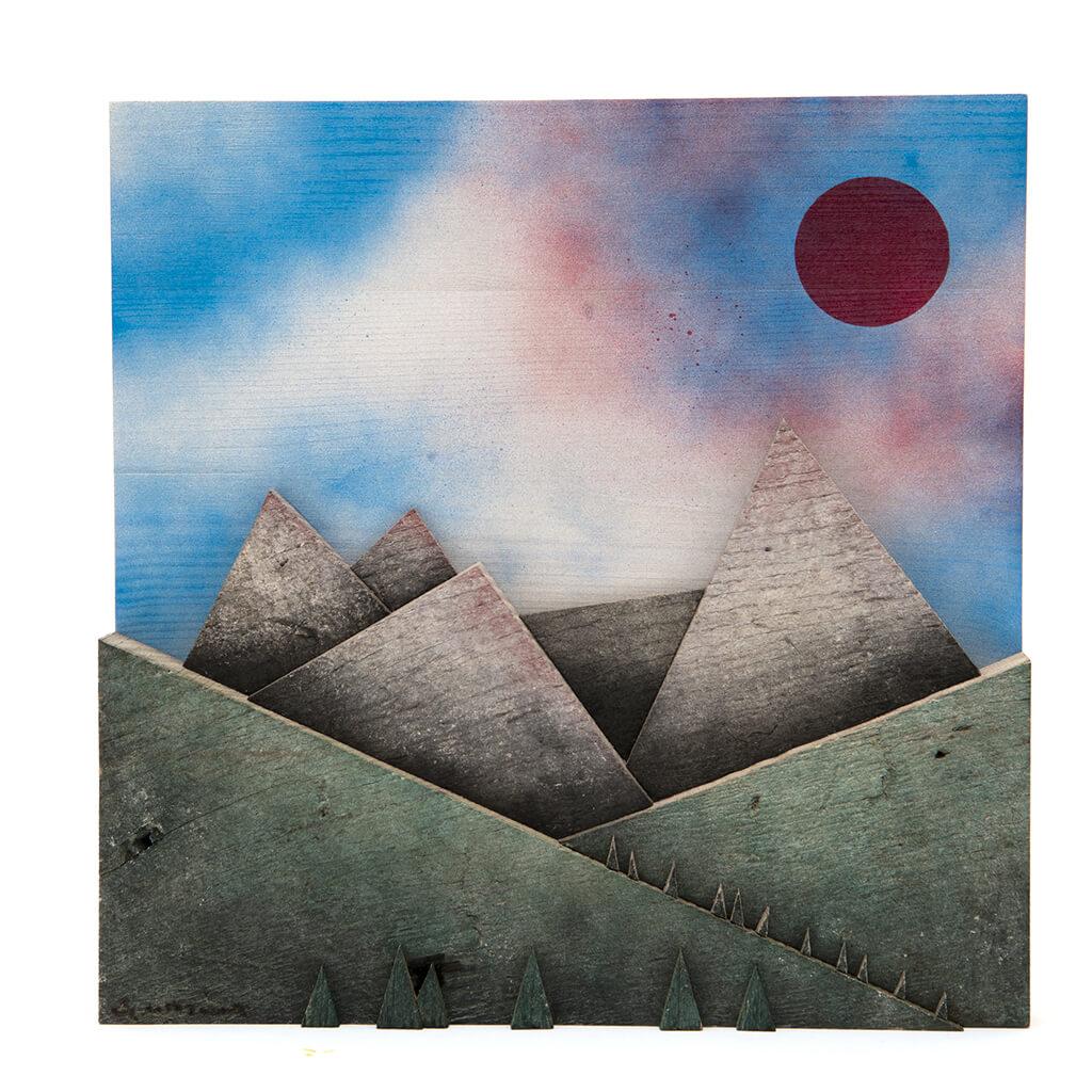 Scultura Guasina in legno - Pannello Montagne aurora - dimensioni cm. 30 x 5 x 30