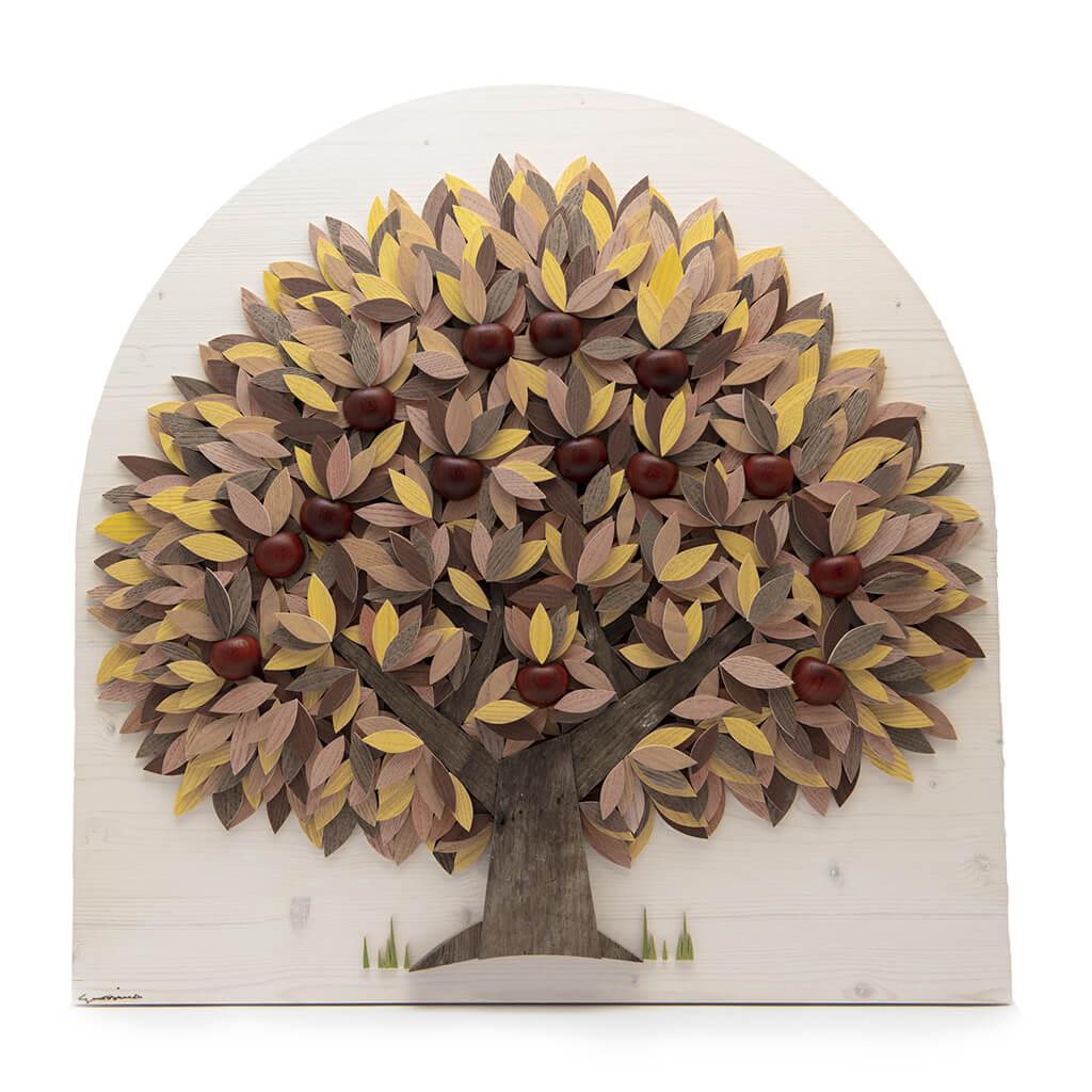 Albero con foglie gialle e mele in Padouk - Dimensione media 60 x 7 x 60 cm (b x p x h)