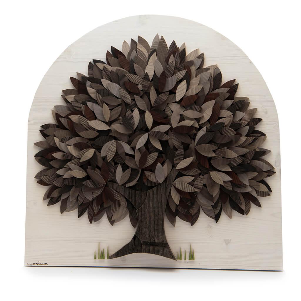 Albero con foglie di diverse colorazioni naturali del legno- Dimensione media 40 x 5 x 40  cm (b x p x h)