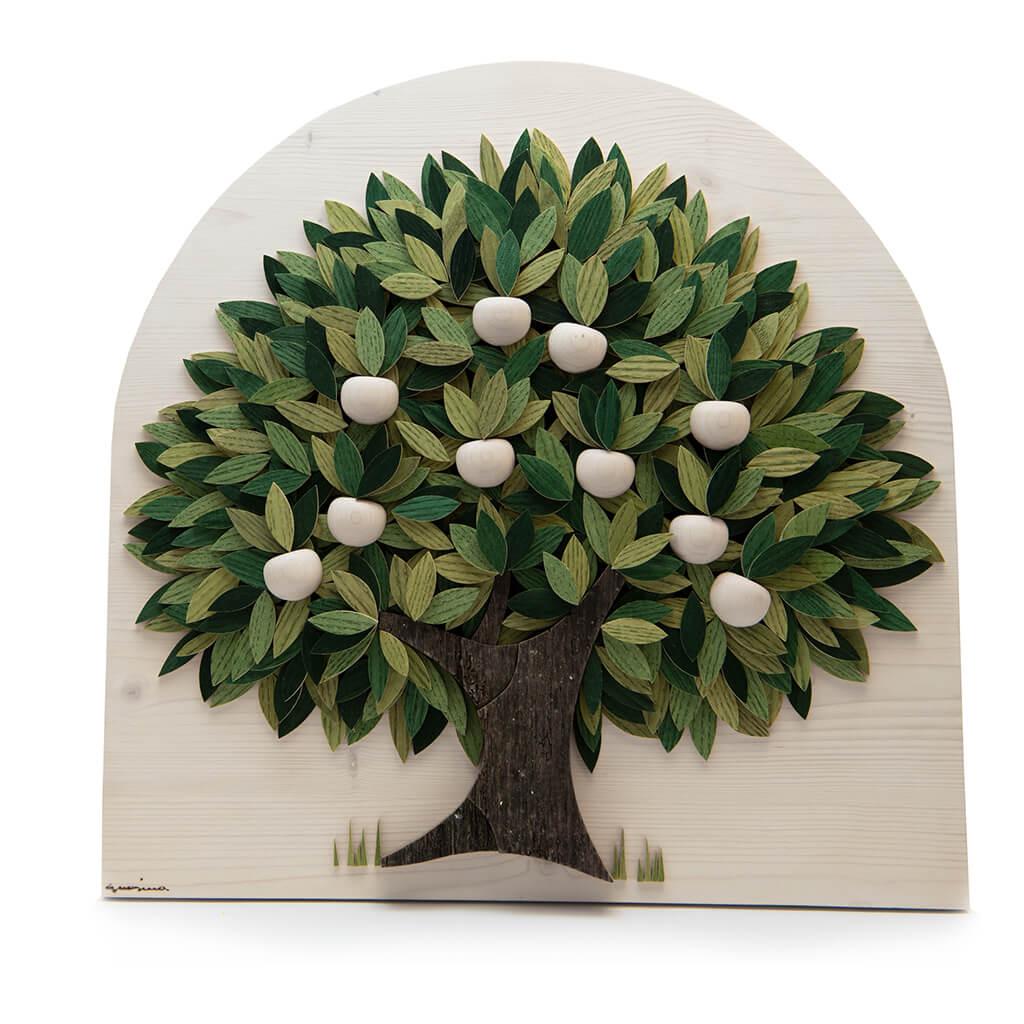 Albero con foglie verdi e mele bianche- Dimensione media 50 x 6 x 50  cm (b x p x h)