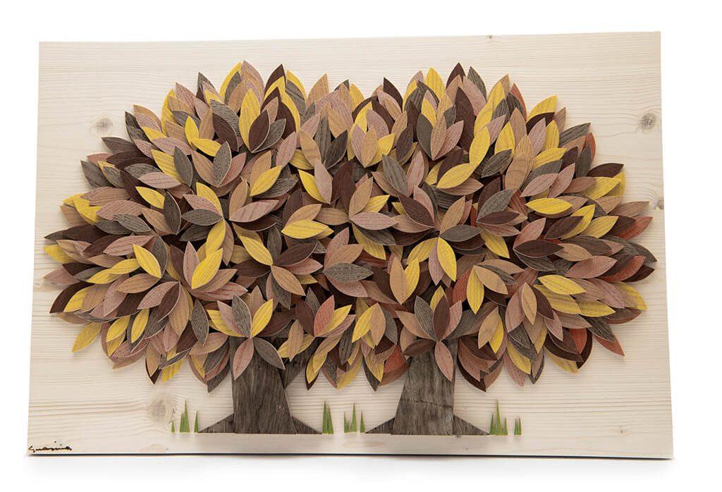 Alberi che si uniscono gialli - Dimensione media 60 x 4 x 40  cm (b x p x h)