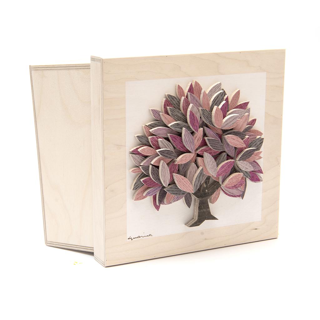 Scatola in legno realizzata a mano - Albero della Vita rosa - dimensioni cm 23 x 12 x 23