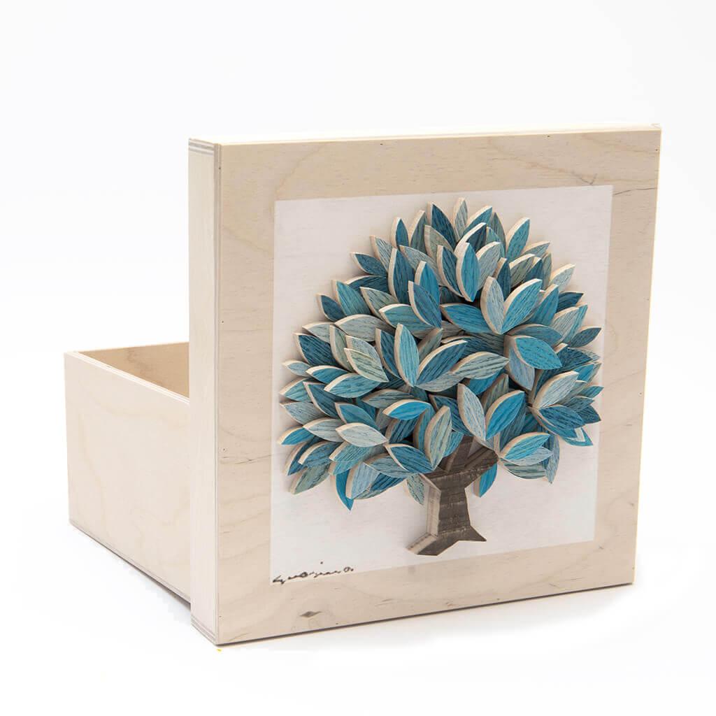 Scatola in legno realizzata a mano - Albero della Vita azzurro - dimensioni cm 23 x 12 x 23