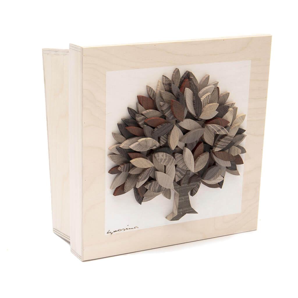 Scatola in legno realizzata a mano - Albero della Vita autunnale - dimensioni cm 23 x 12 x 23