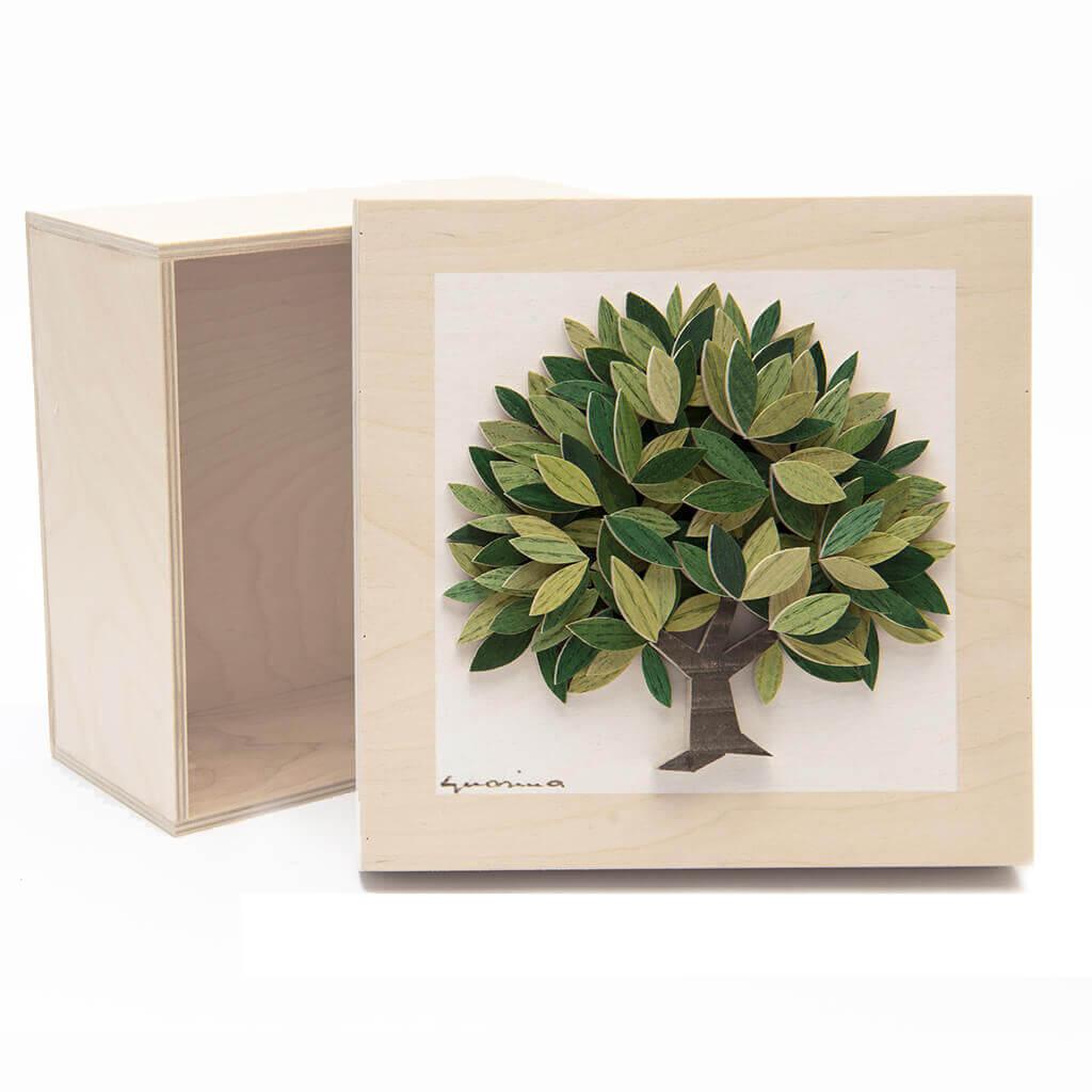 Scatola in legno realizzata a mano - Albero della Vita verde - dimensioni cm 23 x 12 x 23