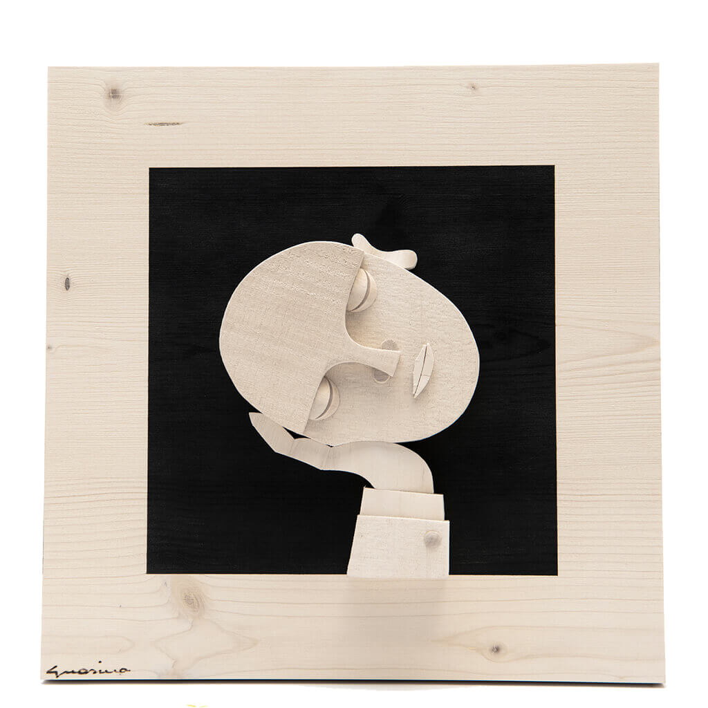 Scultura Guasina in legno - Pannello Volto su fondo nero - Homo dormitans - dimensioni cm. 30 x 6 x 30