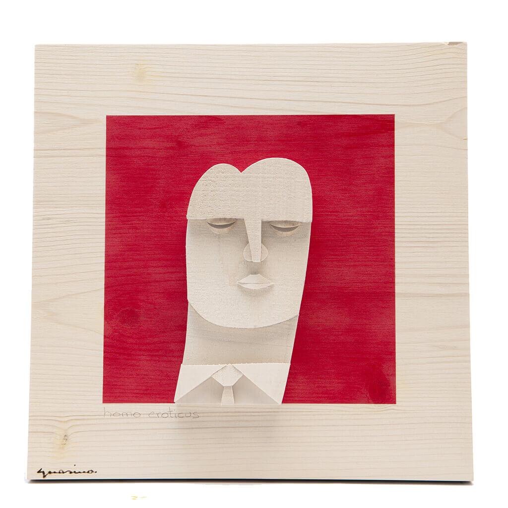 Scultura Guasina in legno - Pannello Volto su fondo rosso - Homo Eroticus - dimensioni cm. 30 x 6 x 30